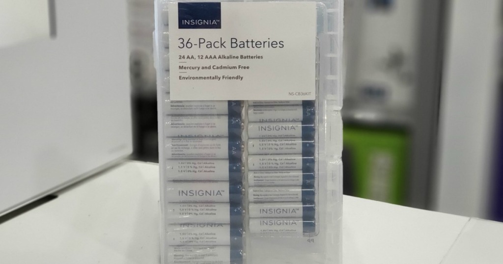 large pack of batteries in plastic case on table