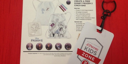 Kids Create a FREE Disney Frozen 2 Bag at JCPenney on November 9th