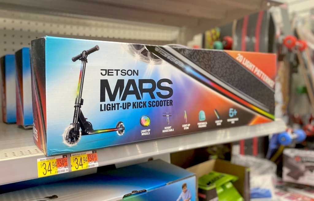 jetson mars light up scooter in box on store shelf from walmart christmas toy list