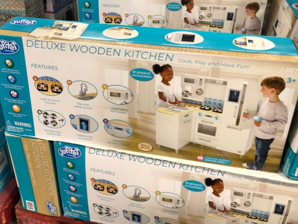 boxes on store display with wooden kitches