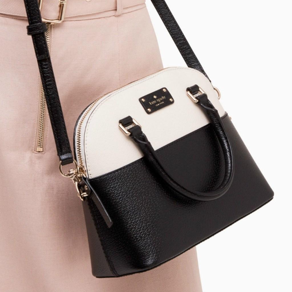 kate spade brand handbag in black and white