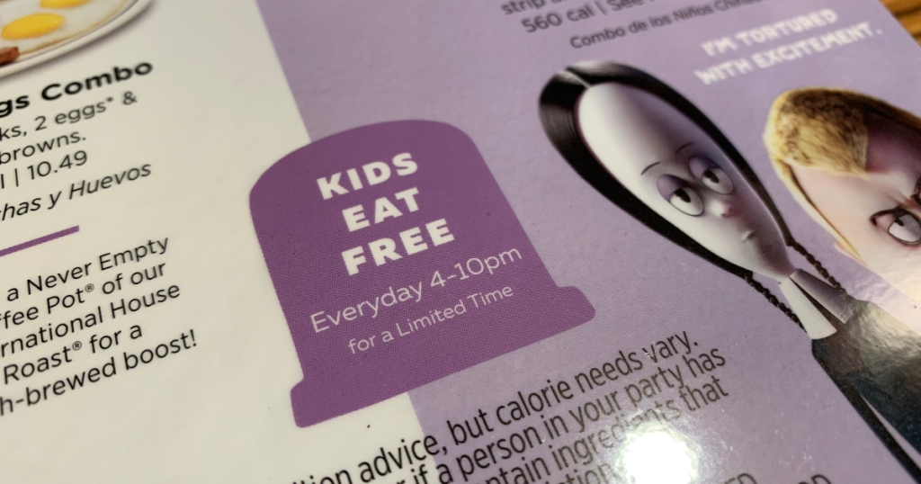 kids eat free at IHOP on Addams Family menu