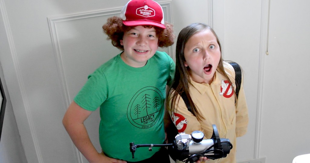 kids wearing strangers things diy thrift store costumes