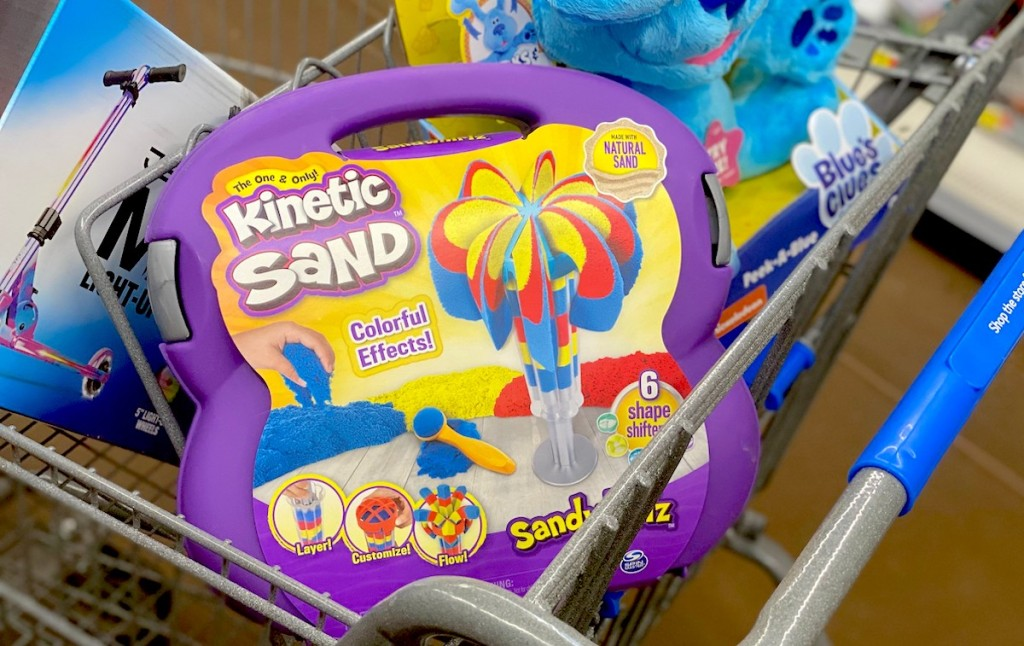 box of kinetic sand in store cart