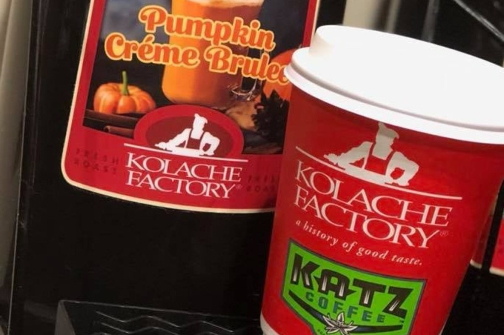 coffee in to-go cup from Kolache Factory