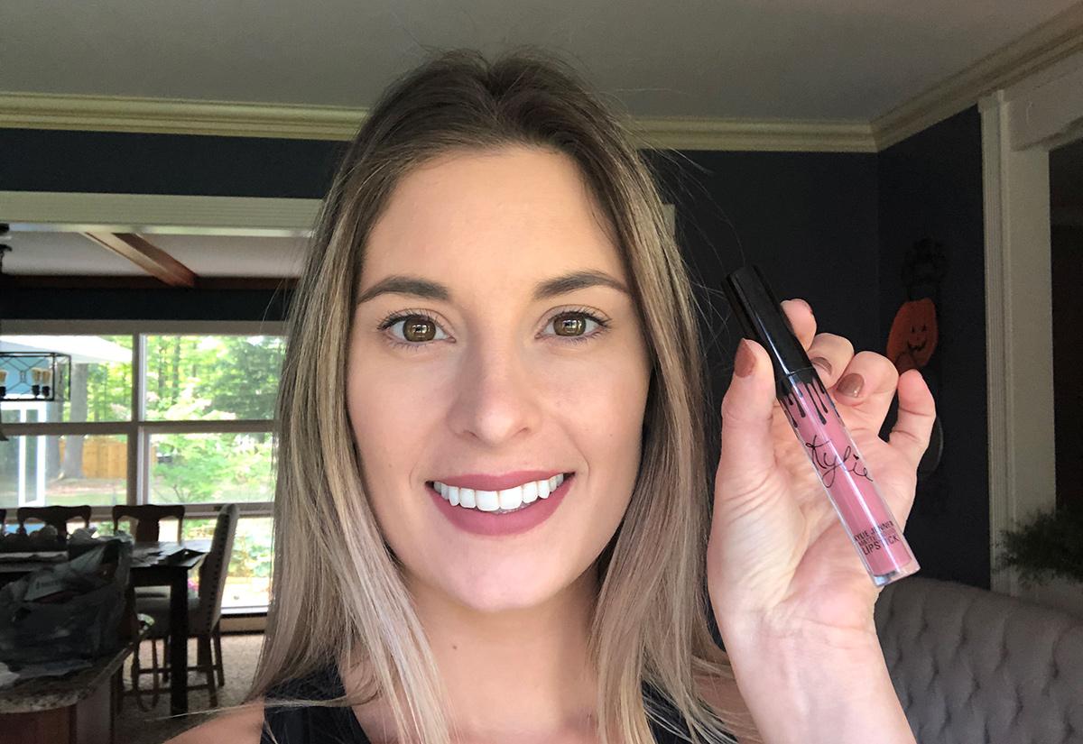 Emily after applying liquid lipstick