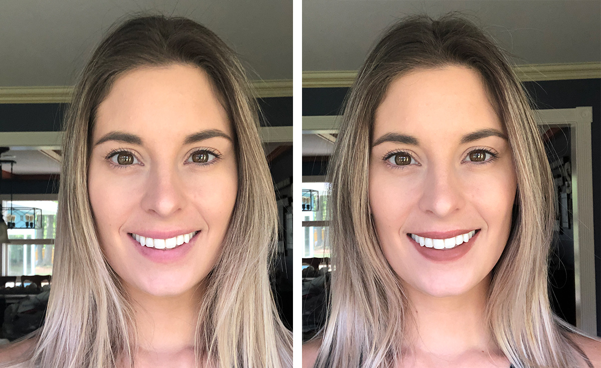Before and after of pencil application