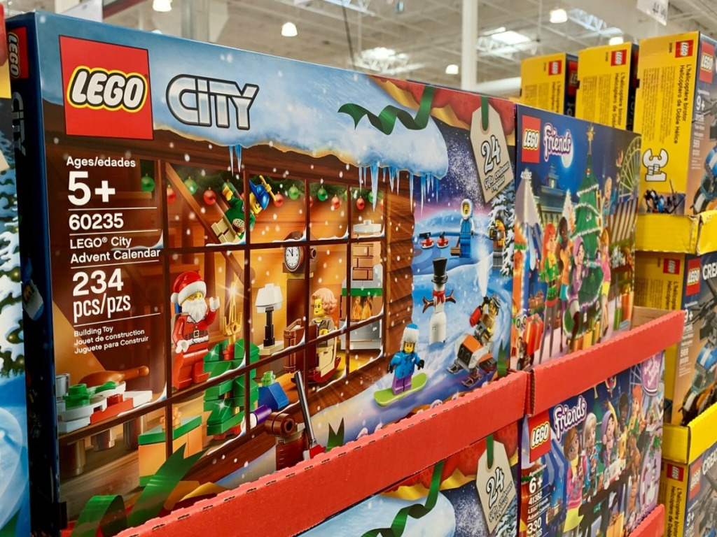 display with boxes of LEGOS in store