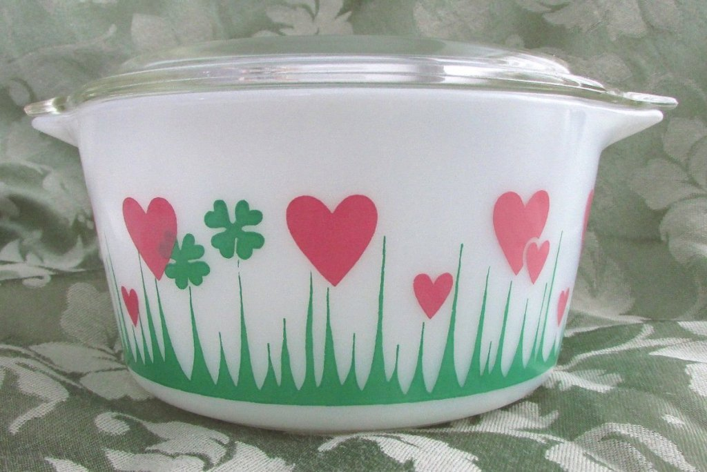 lucky in love pyrex dish with pink hearts and grass