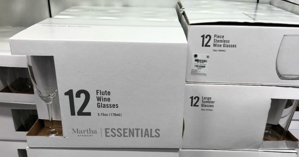 martha stewart flute wine glasses box in store