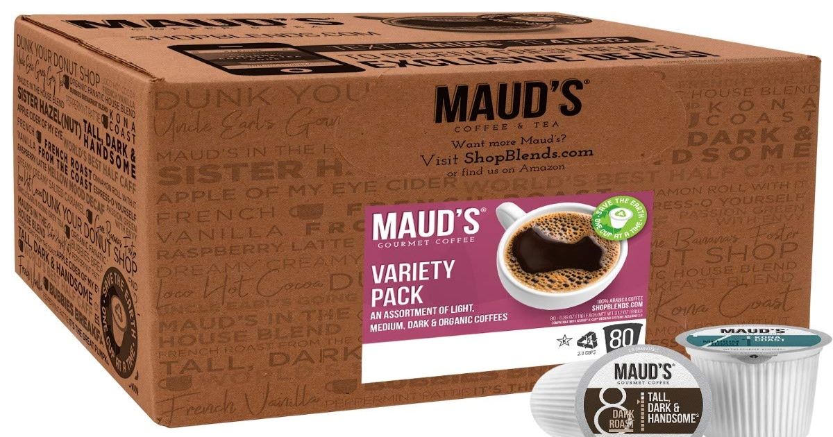 Box of Maud's K cups, variety pack