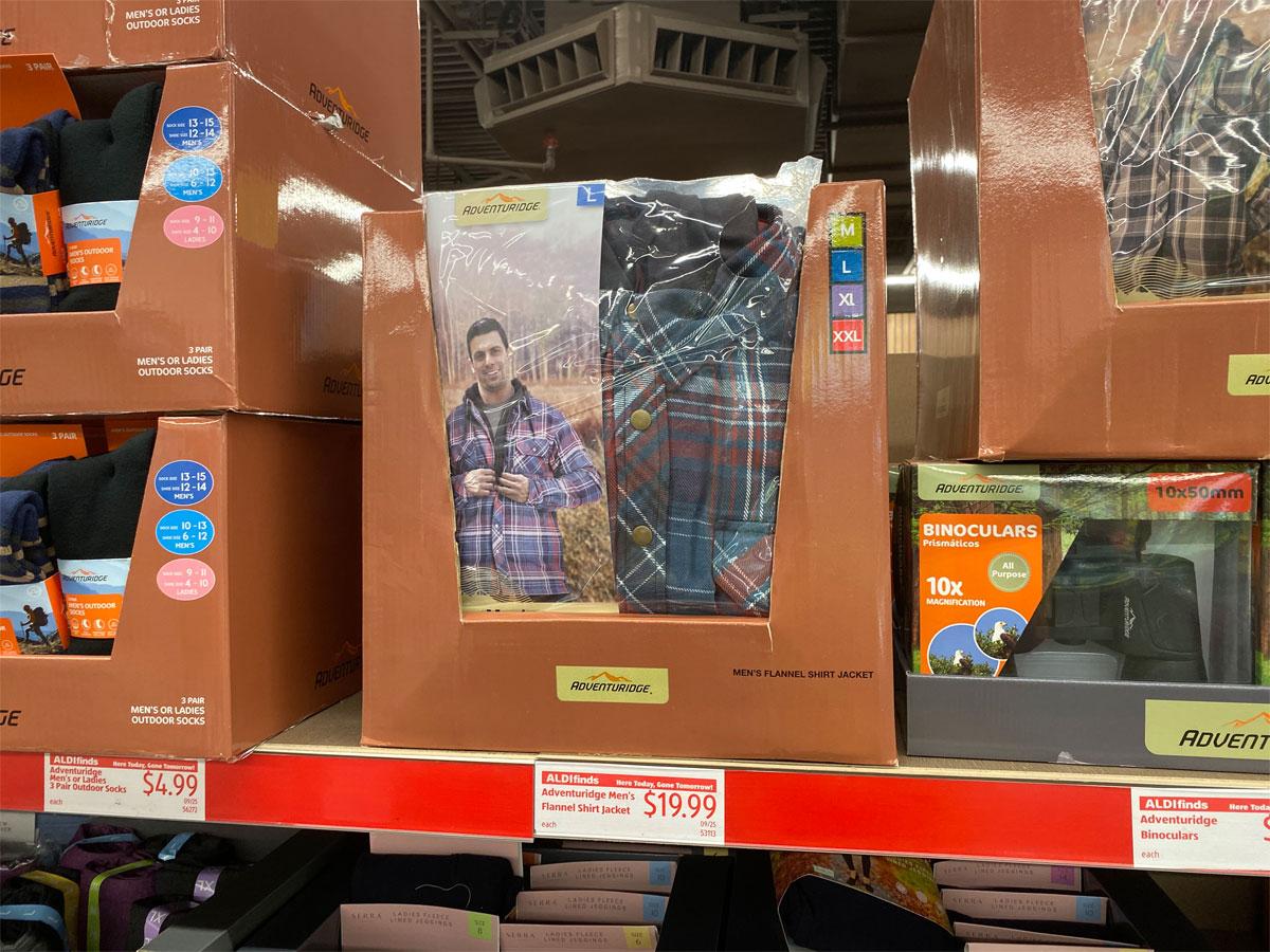 adventuridge men's flannel jacket on shelf at aldi