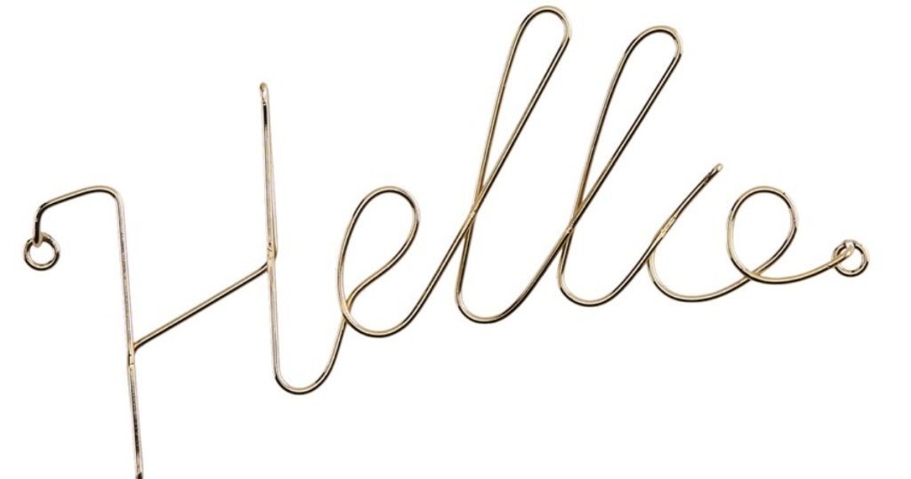 hello metal sign