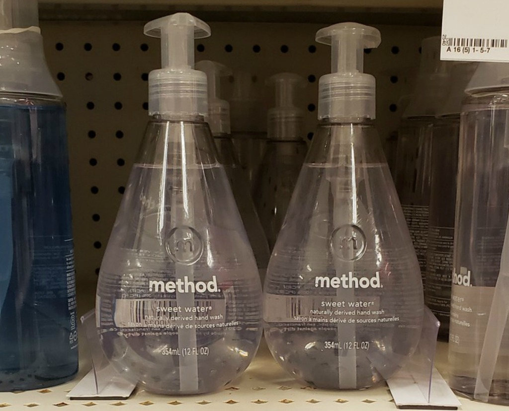 Bottles of method Hand Soap in Sweet Water on store shelf at Target