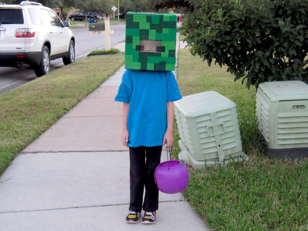 kids wearing minecraft costume standing on sidewalk