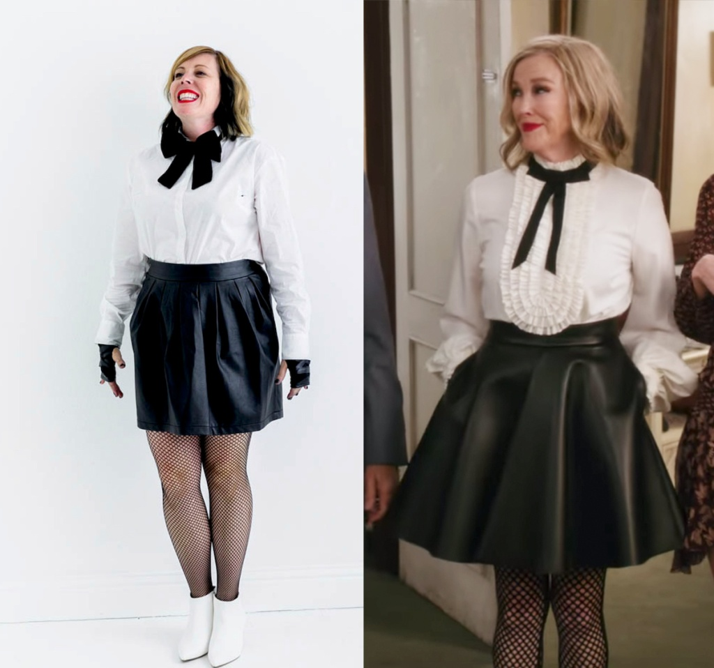 side by side of moira from schitt's creek costume diy idea