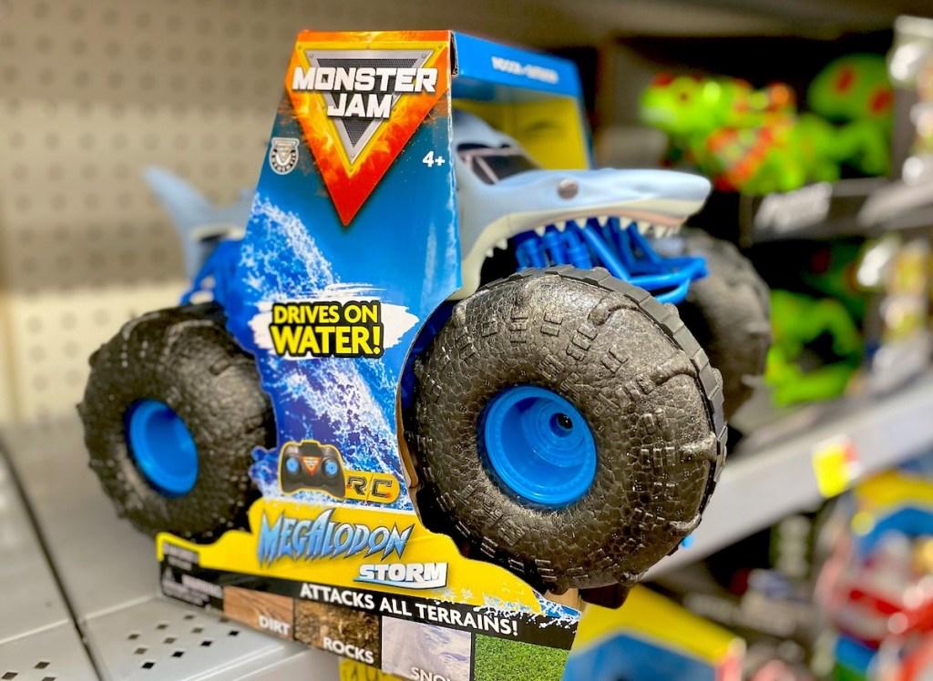 blue monster jam truck on store shelf