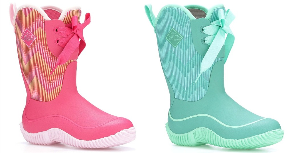 pink and blue kids muck boots