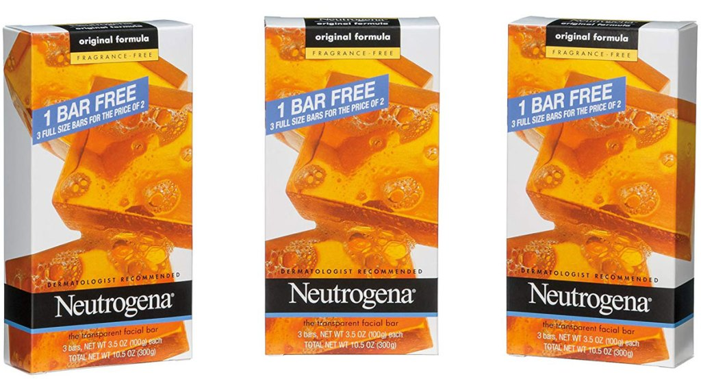 Neutrogena 3 boxes of transparent facial bars six count