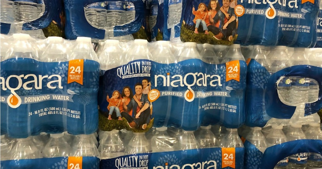 cases of niagara bottled water in-store