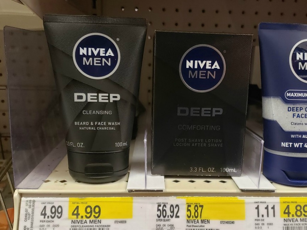 shelf in store with men's face products