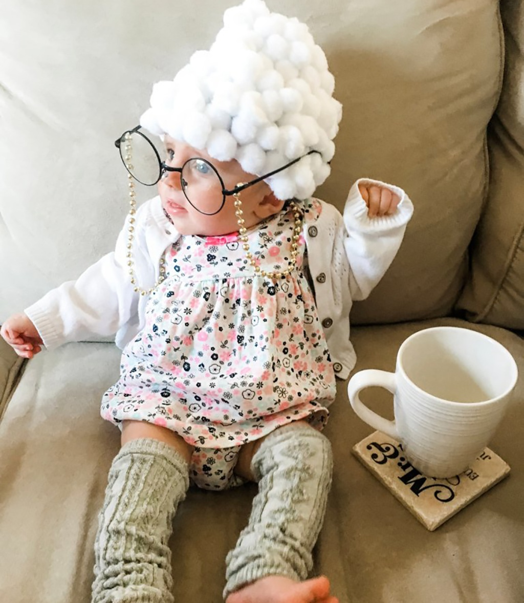 baby dressed in old lady costume