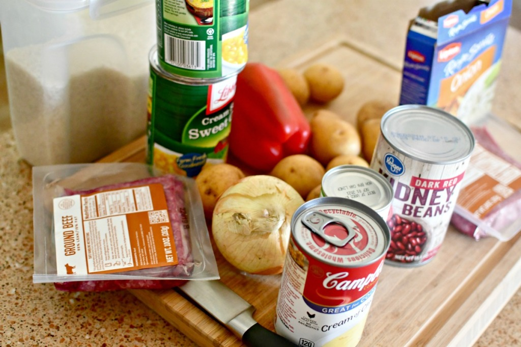 easy meal ingredients on the counter for pantry meal challenge