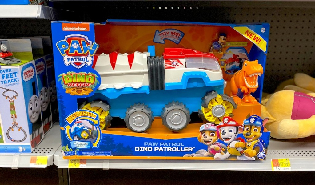 paw patrol kids toy sitting on store shelf from walmart christmas toy list