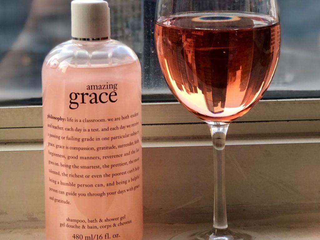 philosophy amazing grace Shampoo, Bath & Shower Gel next to rose wine