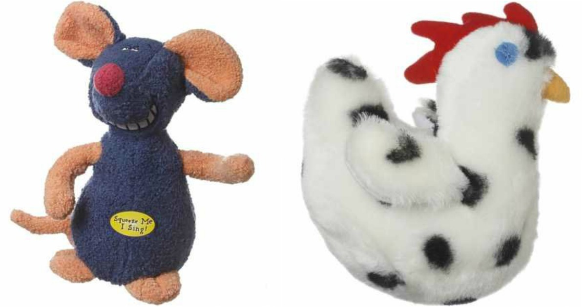 Two dog toys. Plush mouse on the left and plush chicken on the right.