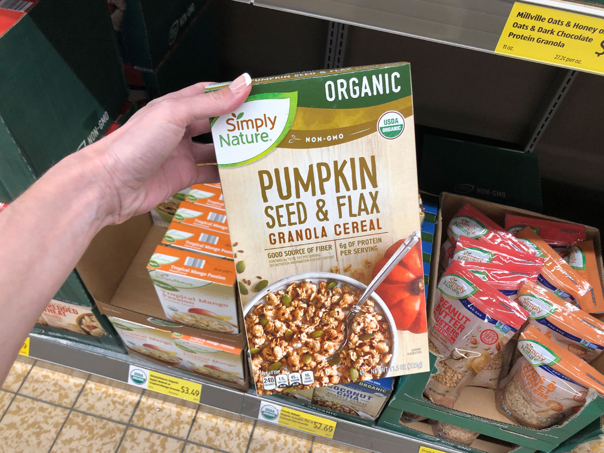 simply nature pumpkin seed & flax granola cereal