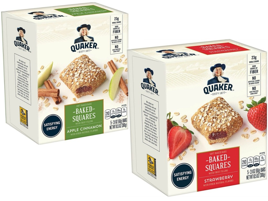 boxes of oatmeal squares on white background