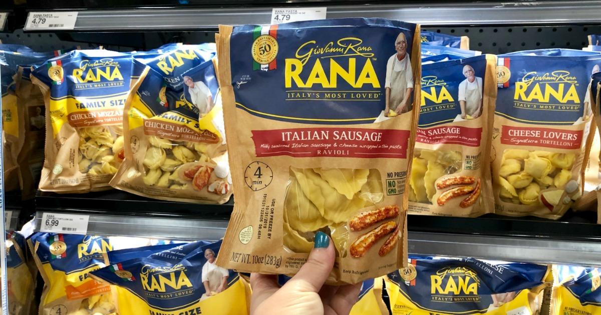 woman holding Giovanni Rana pasta