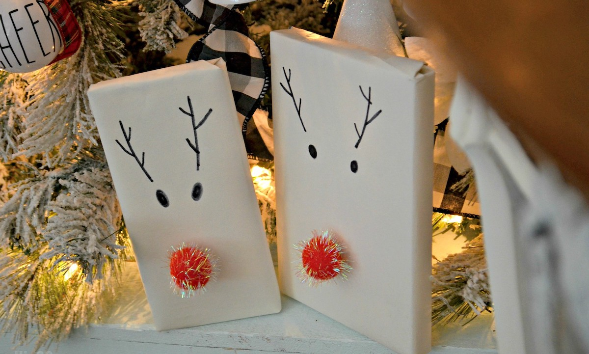 two reindeer gifts with christmas lights a frugal christmas traditions wrapping idea