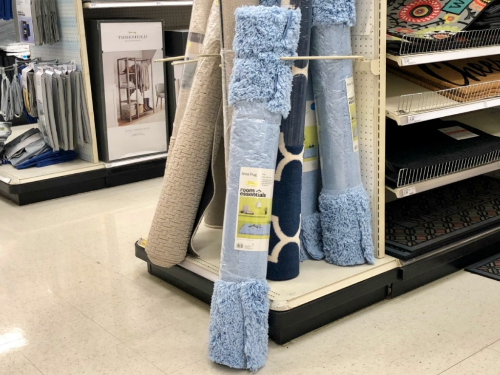 carpet rolled up in store