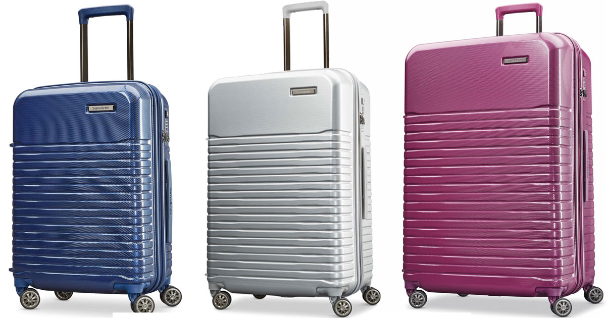 three styles of samsonite spinner spettro suitcases