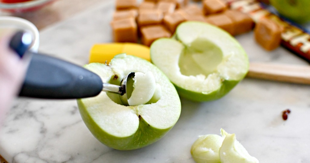 scooping out the apple core