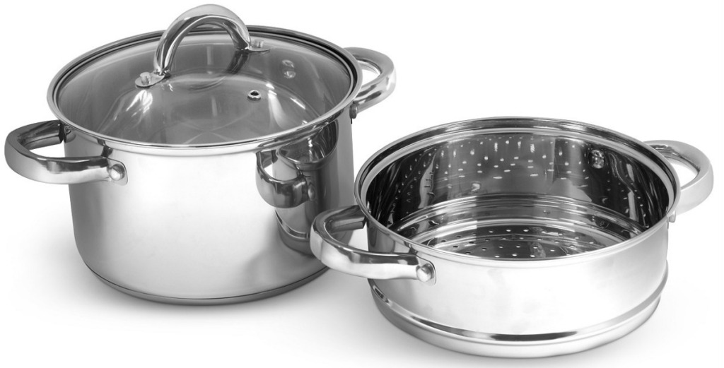 steel pot with lid an strainer on white background