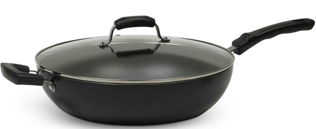 big wok with lid on white background
