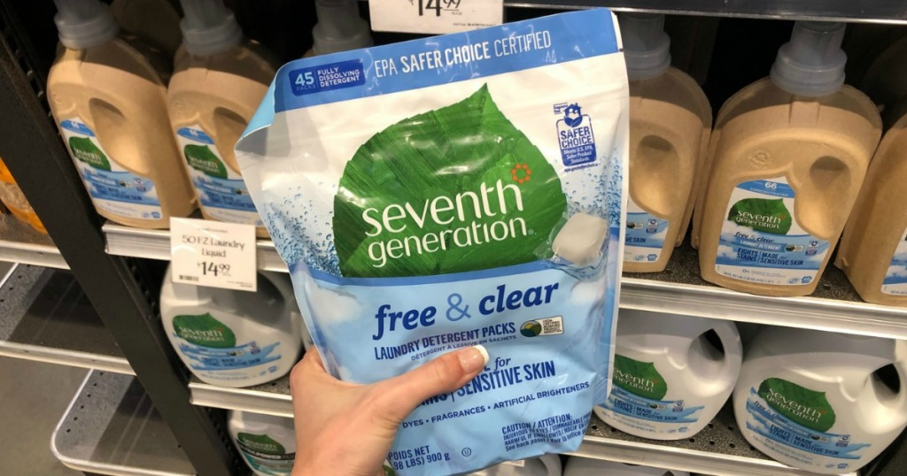 hand holding seventh generation free and clear
