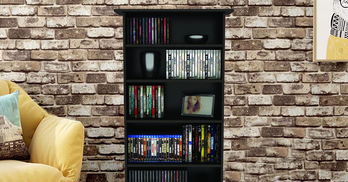 wood media storage cabinet w adjustable shelves only 25