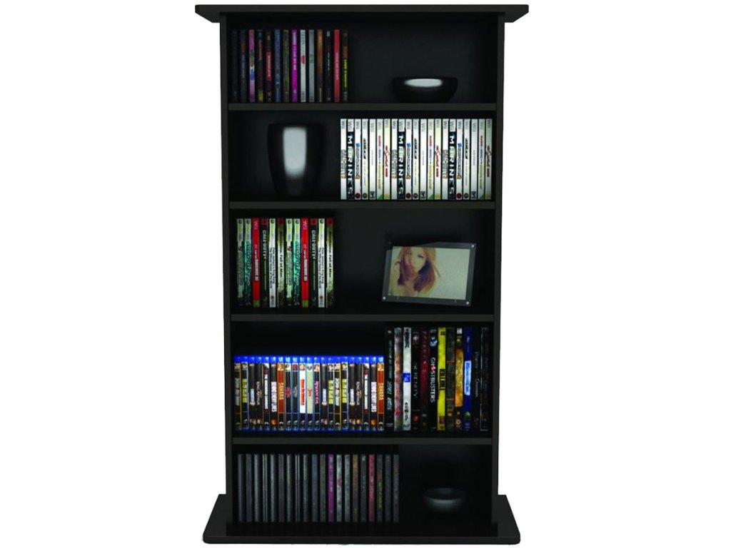 wood media storage shelf