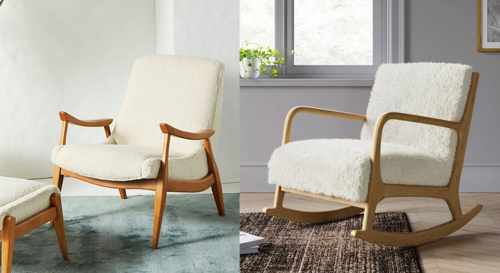 two white and wood sherpa fur chairs
