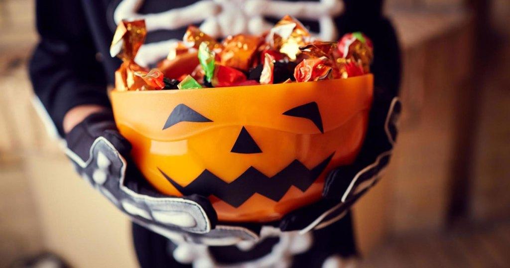 pumpkin bowl full of candy