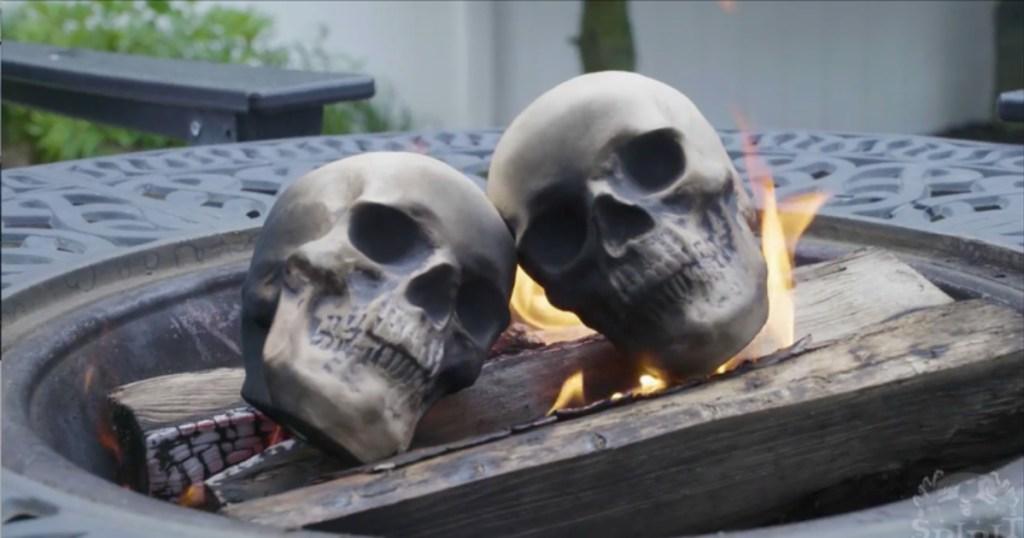 skull logs in fire