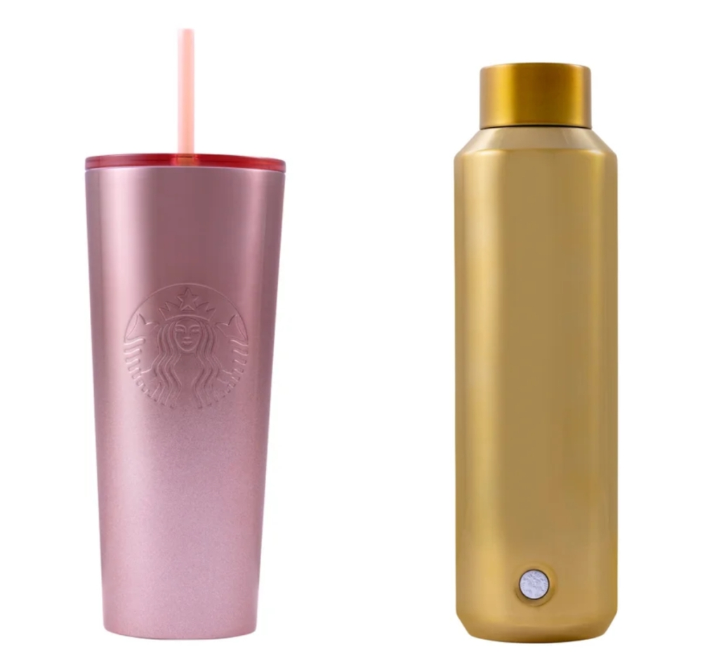 Starbucks cold cup and water bottle