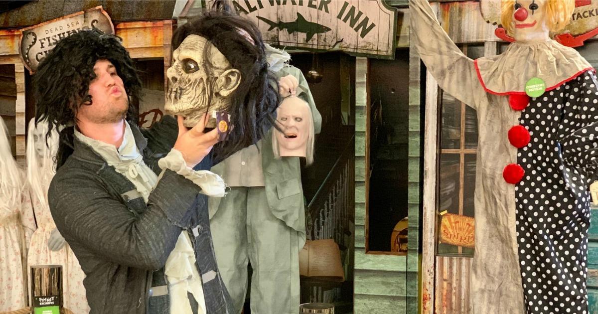 stetson wearing wig at Spirit Halloween store