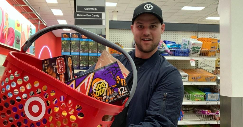 Man carrying target shopping basket