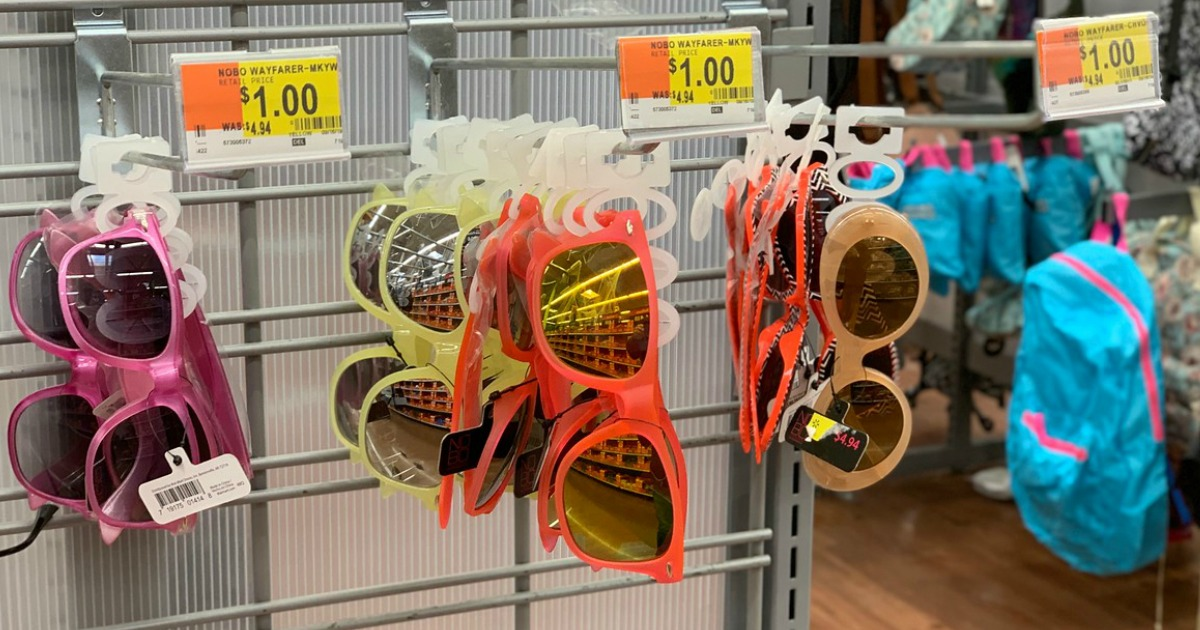 sun glasses hanging on store display