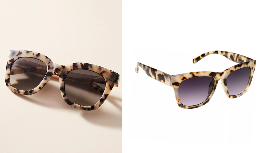 two pairs of tortoise shell sunglasses with black and purple lenses
